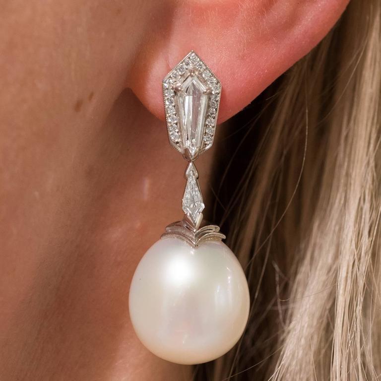 Australian White South Sea Pearl  Diamond Pendant Earrings 4