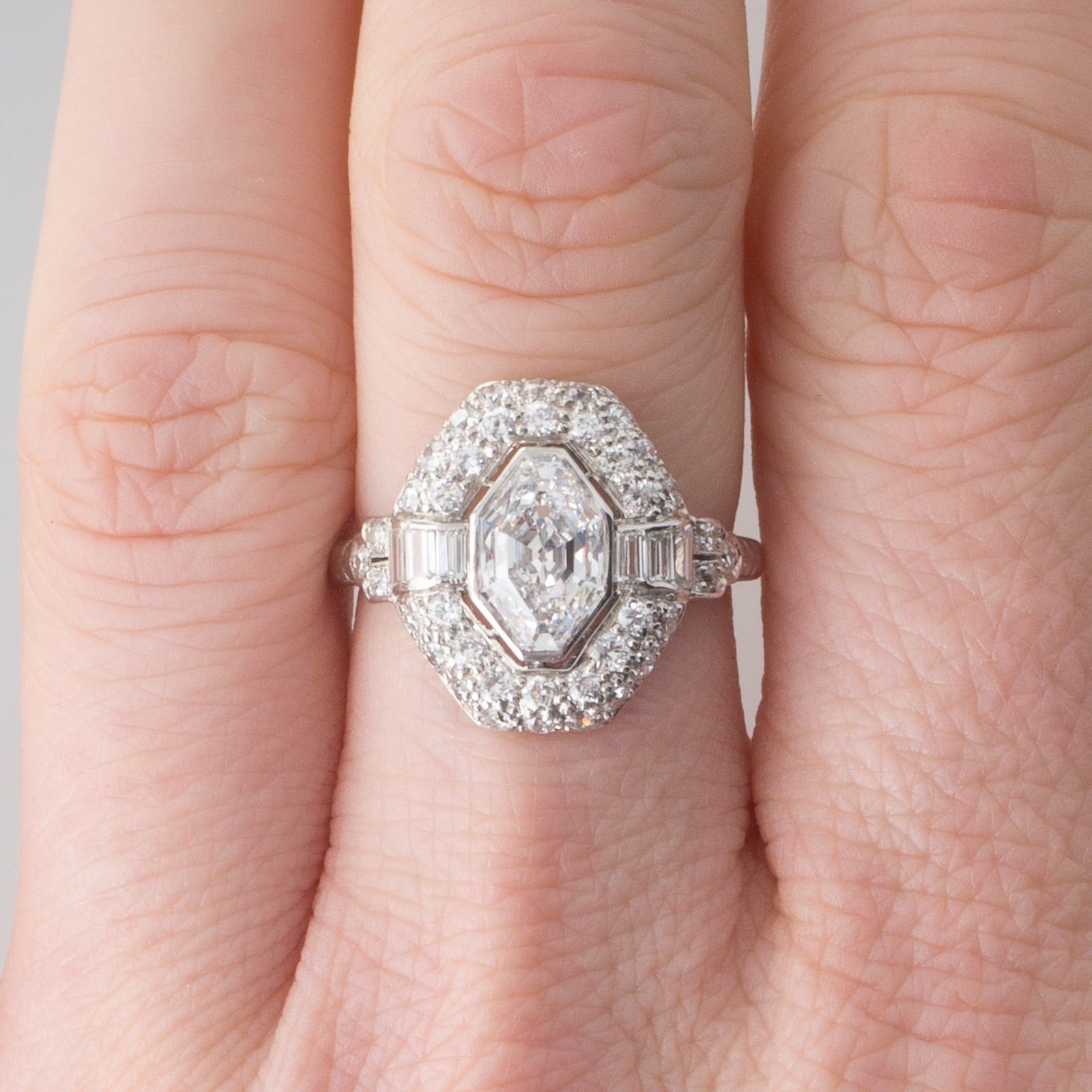 French Art Deco Diamond Platinum Plaque Ring with Modified Baroness ...