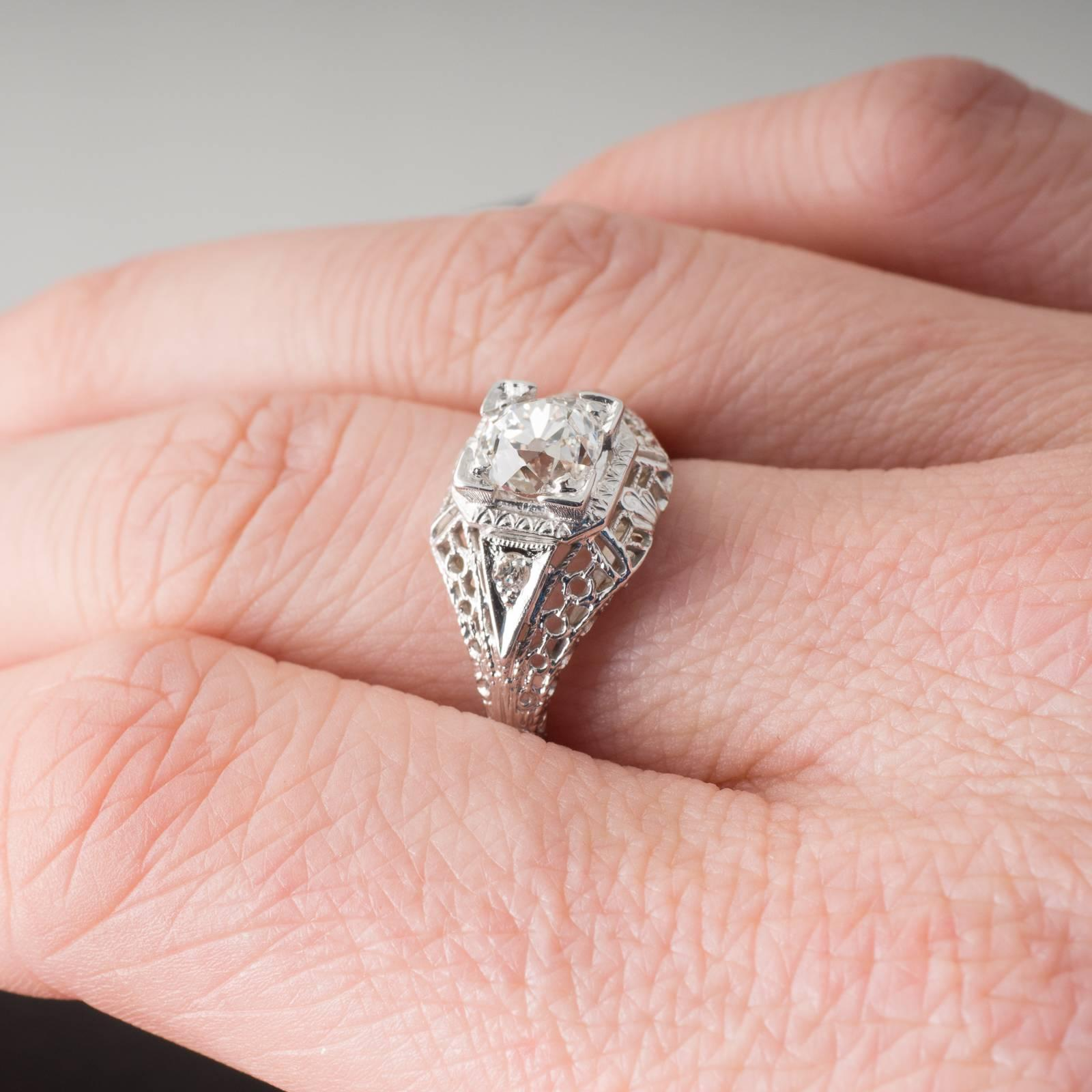 Antique Old European Cut Diamond and White Gold Filigree Solitaire ...