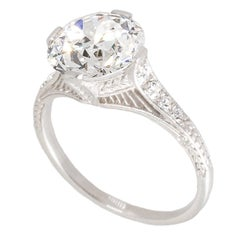 Antique 3.11 Carat GIA Certified Transition Cut Diamond and Platinum Ring