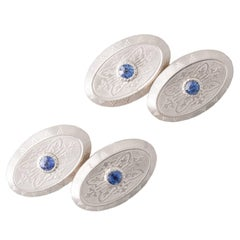 Antique Sapphire Platinum and Gold Oval Cufflinks