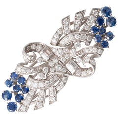 Diamond Sapphire and Platinum 1960s Cocktail Brooch and Dress Clips