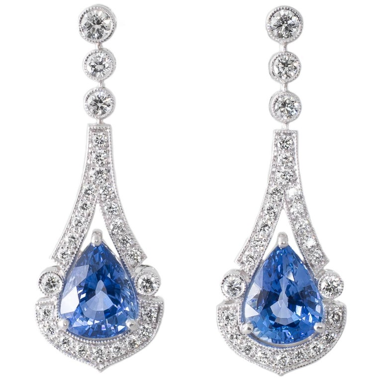 Sri Lankan Sapphire Diamond and White Gold Earrings For Sale at