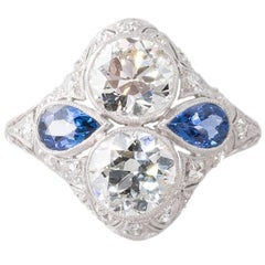 2.90 Carat Antique Diamond and Sapphire Art Deco Dinner Ring