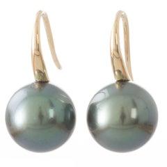Peacock Aubergine Tahitian South Sea Pearl and 18 Carat Gold Hook Earrings