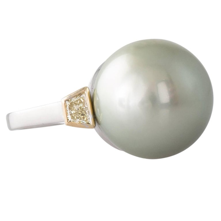 Pistachio Tahitian South Sea Pearl and Fancy Yellow Diamond White Gold Ring