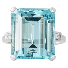 Aquamarine, Diamond and Platinum Cocktail Ring