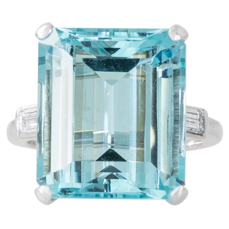 Aquamarine, Diamond and Platinum Cocktail Ring