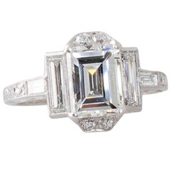 Art Deco 1.38 Carat Emerald Cut GIA Certified Diamond and Platinum Ring