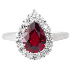 Pear Shape 1.57 Carat Mozambique Ruby and Diamond Cluster Ring