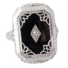 Antique Onyx, Diamond, and Filligree White Gold Art Deco Ring