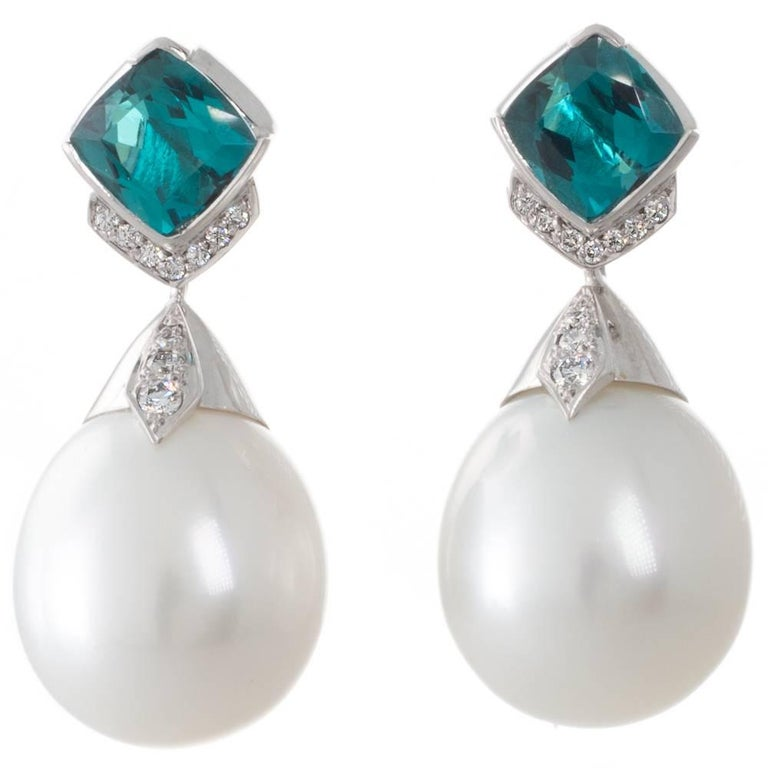 Tourmaline and Australian White South Sea Pearl and Diamond Handmade Earrings