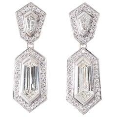 Handmade Art Deco Style Spear Point and Kite Shape Diamond Drop Earrings