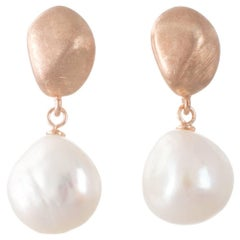 Freshwater Pearl and Rose Gold-Plated Earrings