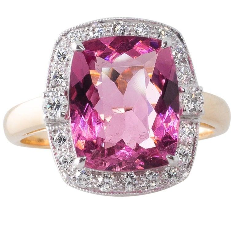 Pink Cushion Cut Tourmaline and Diamond Cluster Ring