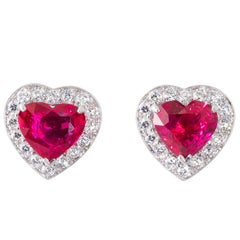 Heart Shaped GRS Certified Unheated Mozambique Ruby and Diamond Stud Earrings