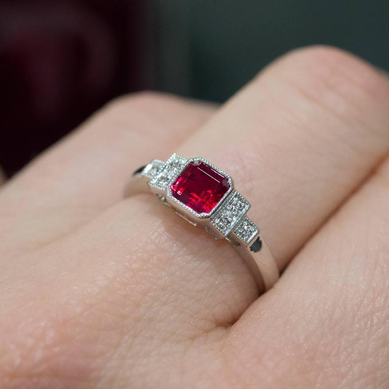 Square Cut Ruby And Diamond Ring For Sale At 1stdibs