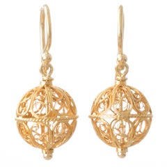 Antique Gold Wirework Bead Earrings