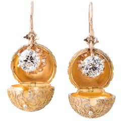 Pair of Antique Diamond Drop Earrings and Rare Gold Coach Covers