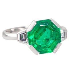 Handmade 2.94 Carat Colombian Emerald and Diamond Ring