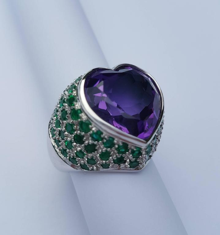 missiaglia amethyst and emerald ring for sale at 1stdibs