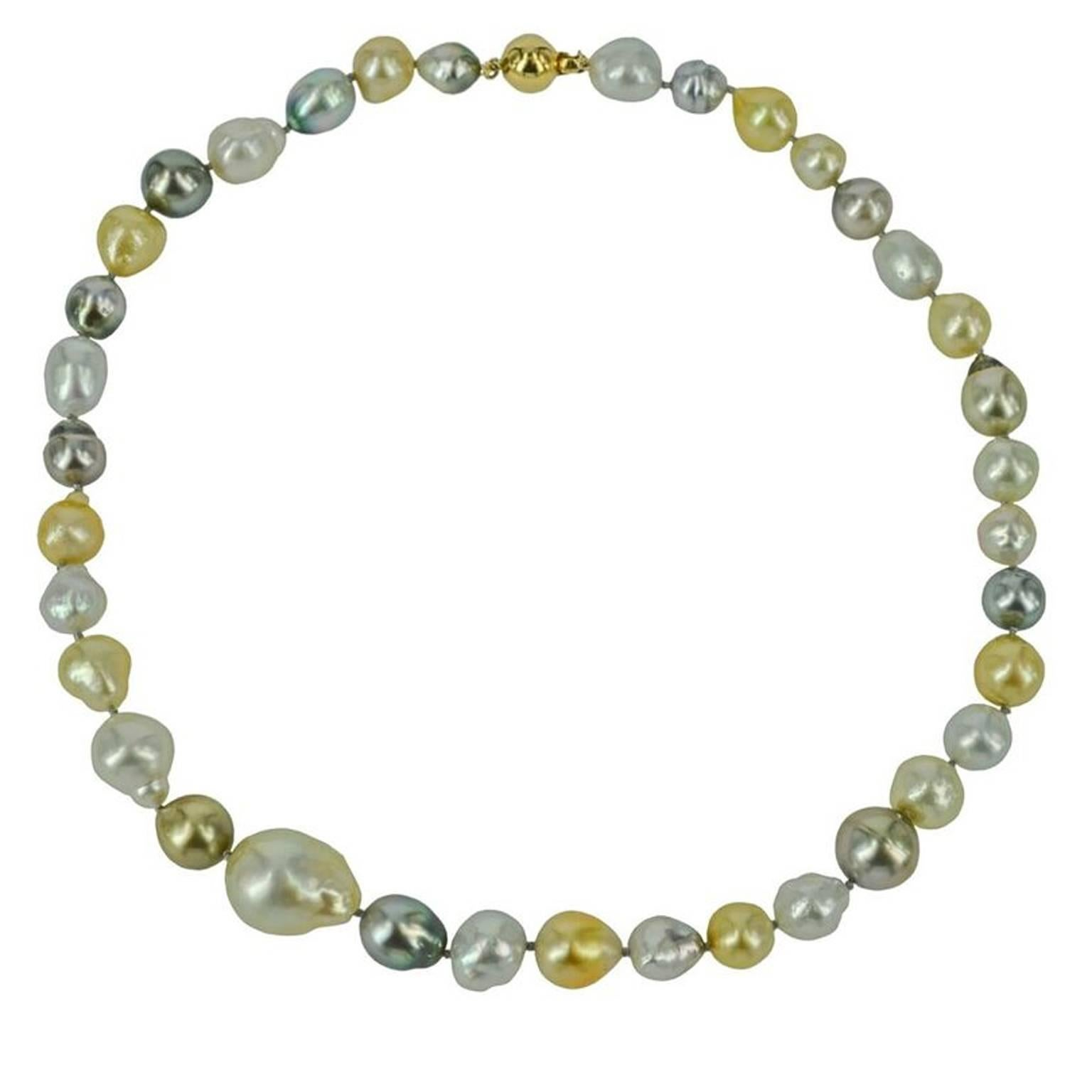 Decadent Jewels baroque South Sea Pearl and Tahitian Pearl Gold Necklace