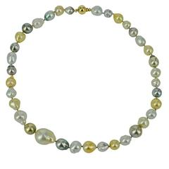 Baroque South Sea Pearl and Tahitian Pearl Gold Necklace