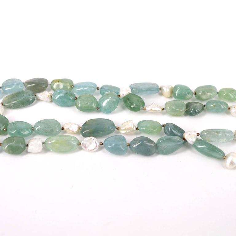 Women's Aquamarine Keshi Fresh Water Pearls Silver Bead Necklace For Sale