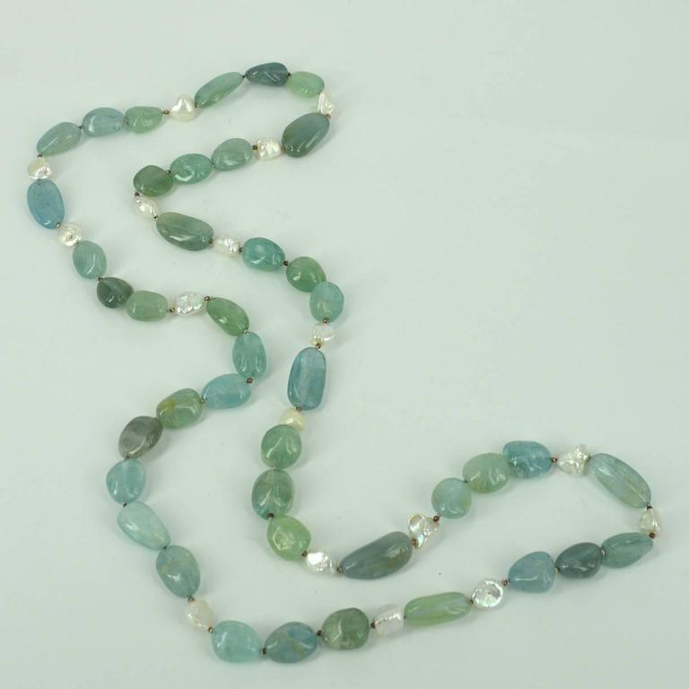 Aquamarine Keshi Fresh Water Pearls Silver Bead Necklace In As New Condition For Sale In Sydney, AU
