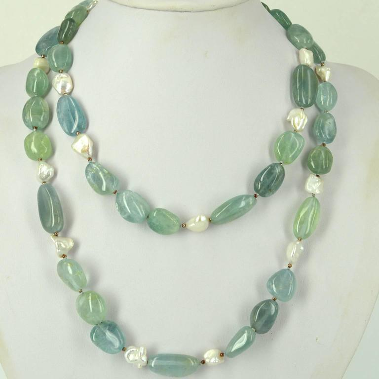 Contemporary Aquamarine Keshi Fresh Water Pearls Silver Bead Necklace For Sale