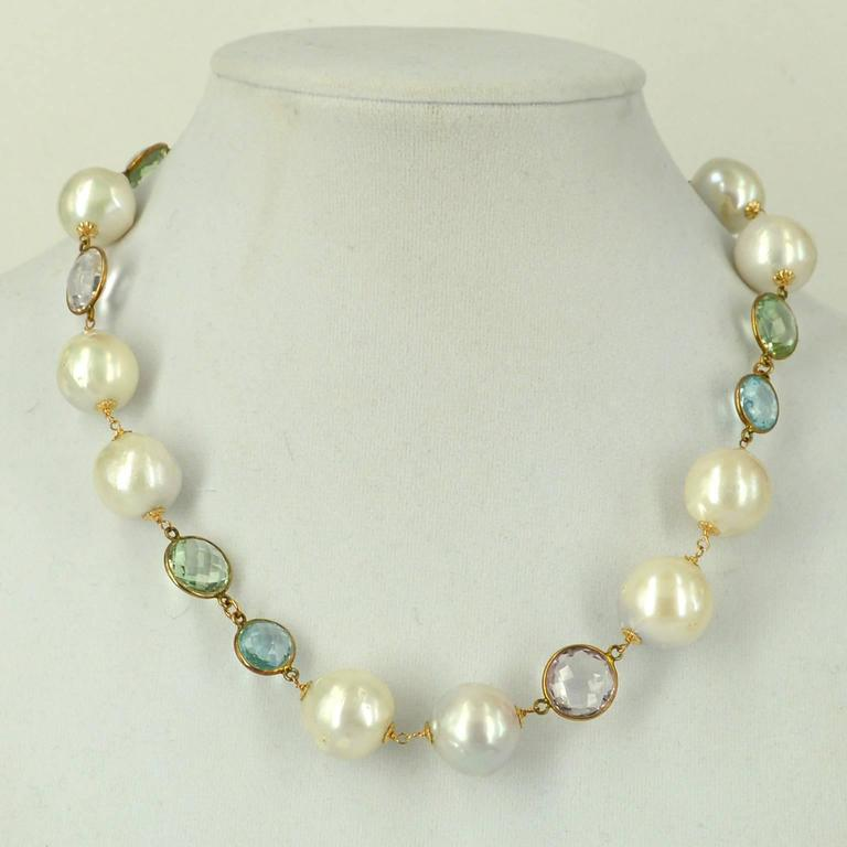Amethyst Blue Topaz Green Amethyst Fresh Water Pearl Gold Necklace 2