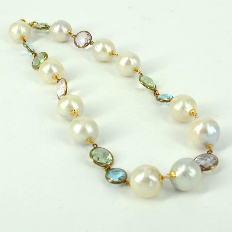 Modern Amethyst Blue Topaz Green Amethyst Fresh Water Pearl Gold Necklace For Sale
