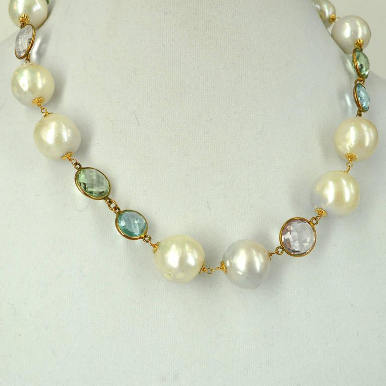 Amethyst Blue Topaz Green Amethyst Fresh Water Pearl Gold Necklace In As New Condition For Sale In Sydney, AU
