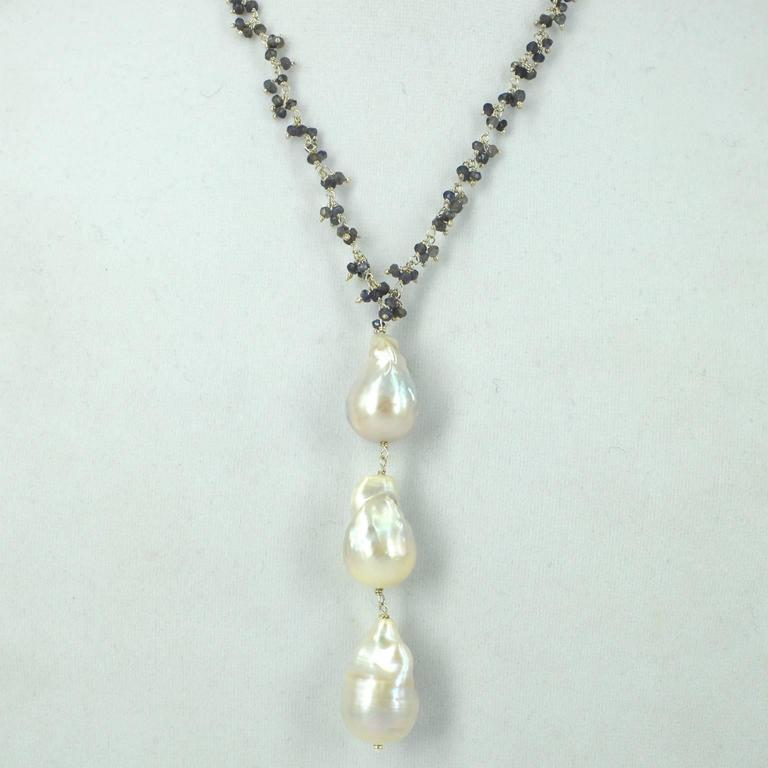 Modern Decadent Jewels Iolite and Baroque Pearl Silver Pendant Necklace For Sale