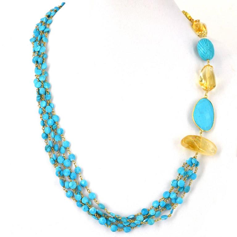 Modern Versatile Turquoise Citrine Gold Necklace For Sale