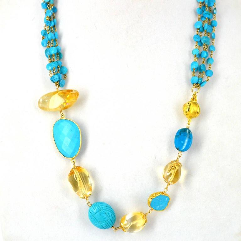 Versatile Turquoise Citrine Gold Necklace In New Condition For Sale In Sydney, AU