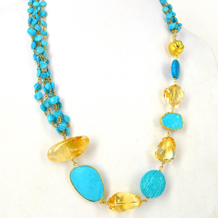 Women's Versatile Turquoise Citrine Gold Necklace For Sale