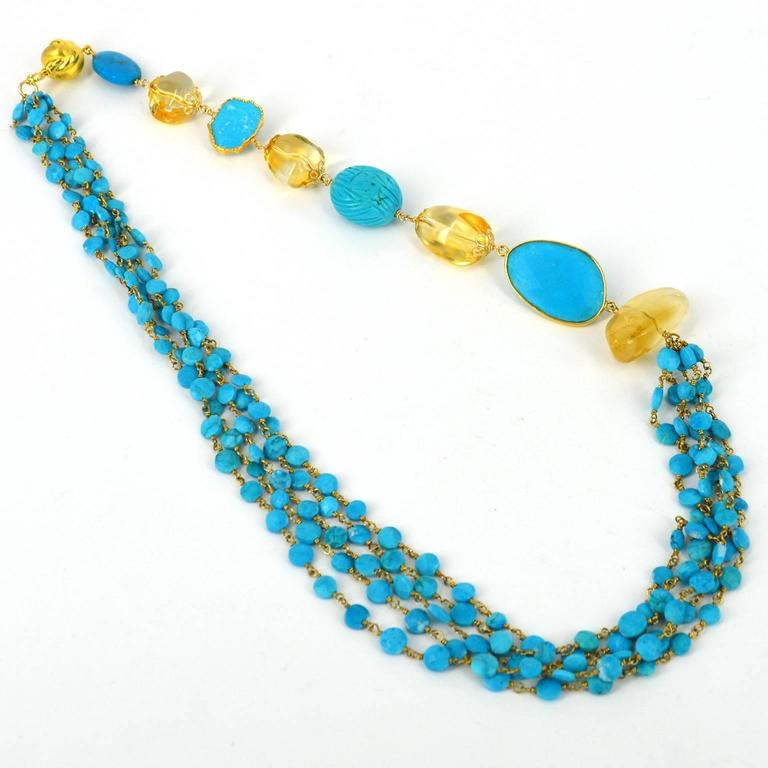 Versatile Turquoise Citrine Gold Necklace For Sale 1