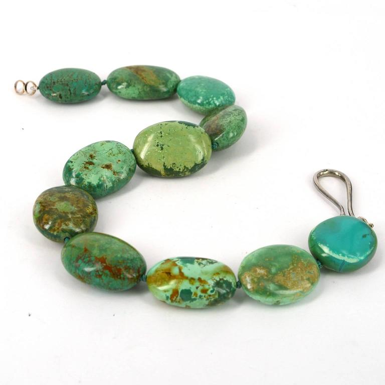Large Green Natural Chinese Turquoise Nugget Silver Necklace In New Condition For Sale In Sydney, AU