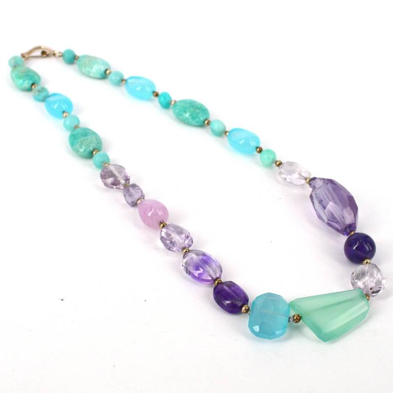 Artisan Amazonite Amethyst Kunzite Chalcedony Silver Necklace For Sale