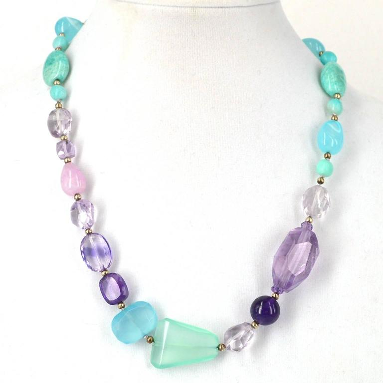 Amazonite Amethyst Kunzite Chalcedony Silver Necklace In As new Condition For Sale In Sydney, AU