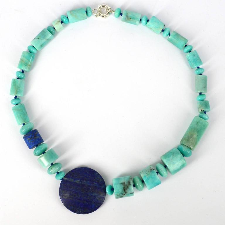 Modernist Decadent Jewels Natural Amazonite Lapis Lazuli Silver Necklace For Sale