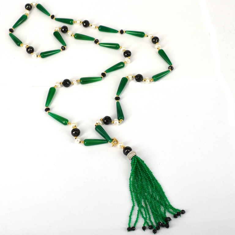 Art Deco Decadent Jewels Spinel Pearl Green Agate Sautoir Necklace with Detachable Tassel For Sale