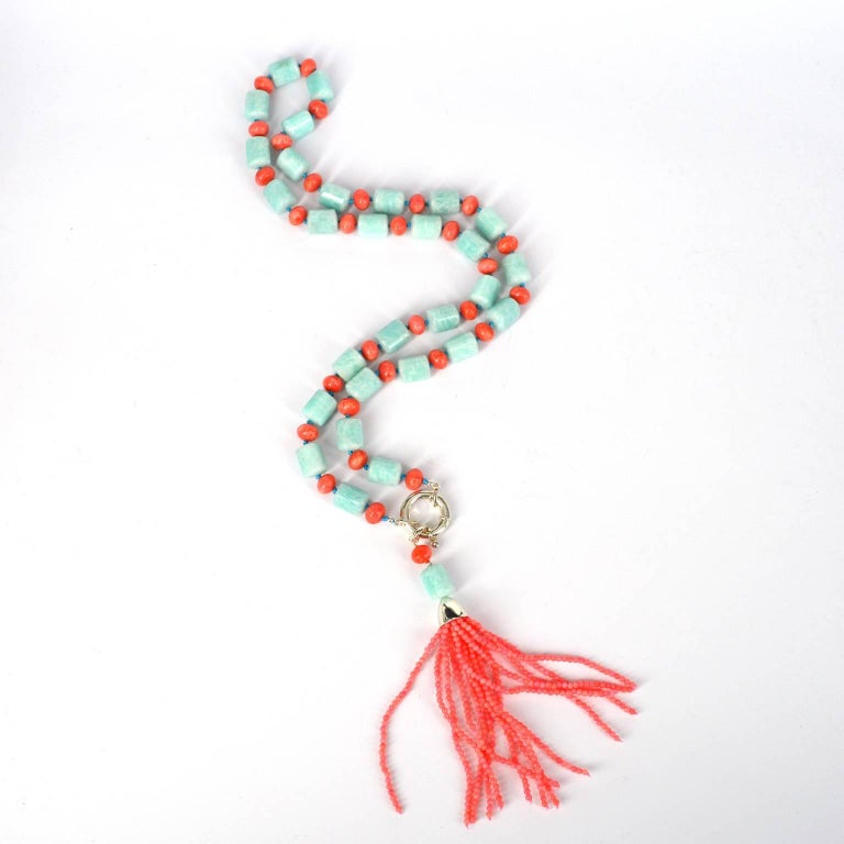 Contemporary Decadent Jewels Amazonite Apricot Coral Sautier Tassel Silver Necklace For Sale