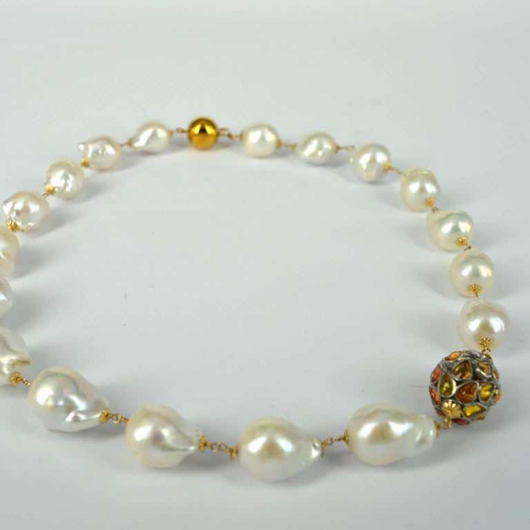 Artisan Decadent Jewels Sapphire and Baroque Pearl Necklace For Sale