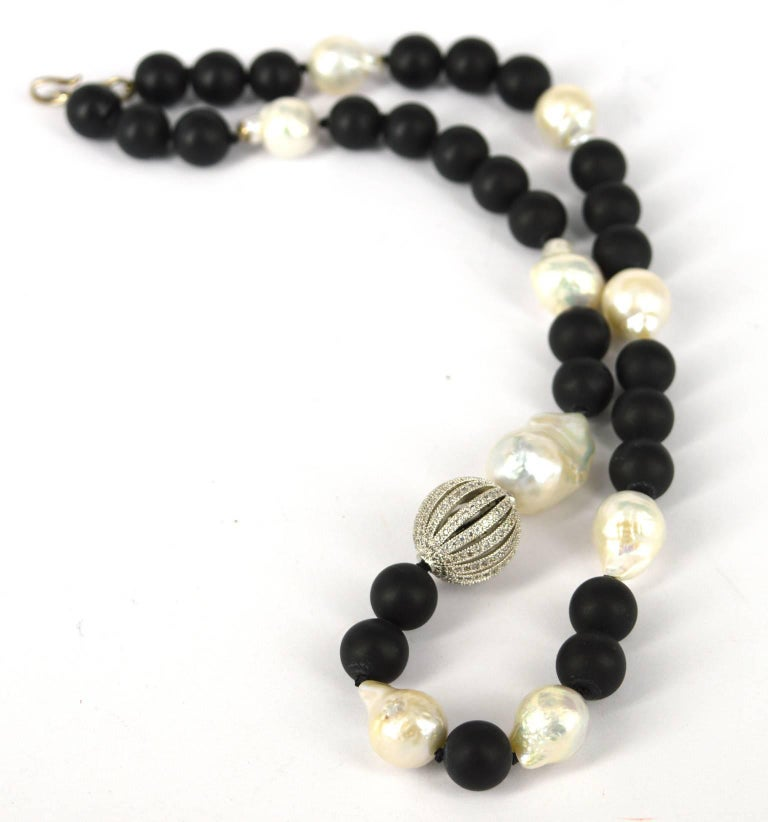 Contemporary Decadent Jewels Matt Onyx Fresh Water Pearl CZ Silver Necklace For Sale