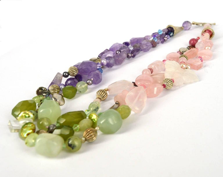 Decadent Jewels Rose Quartz Amethyst Jade Pearl Prehnite torsade Silver Necklace In New Condition For Sale In Sydney, AU