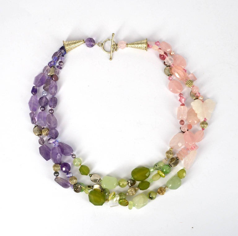 Contemporary Decadent Jewels Rose Quartz Amethyst Jade Pearl Prehnite torsade Silver Necklace For Sale