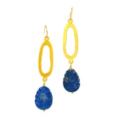 Decadent Jewels Carved Lapis Lazuli and Gold Earrings