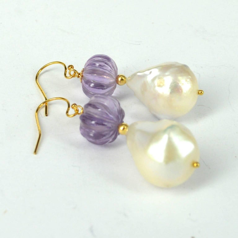 Contemporary Decadent Jewels Carved Amethyst Baroque Pearl Gold Earrings For Sale